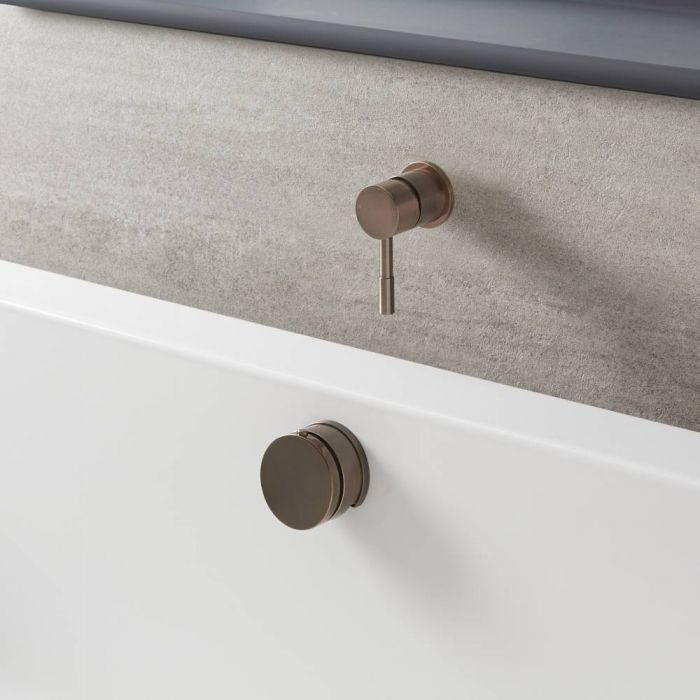 Milano Amara - Modern One Outlet Valve with Overflow Bath Filler and Waste - Brushed Copper