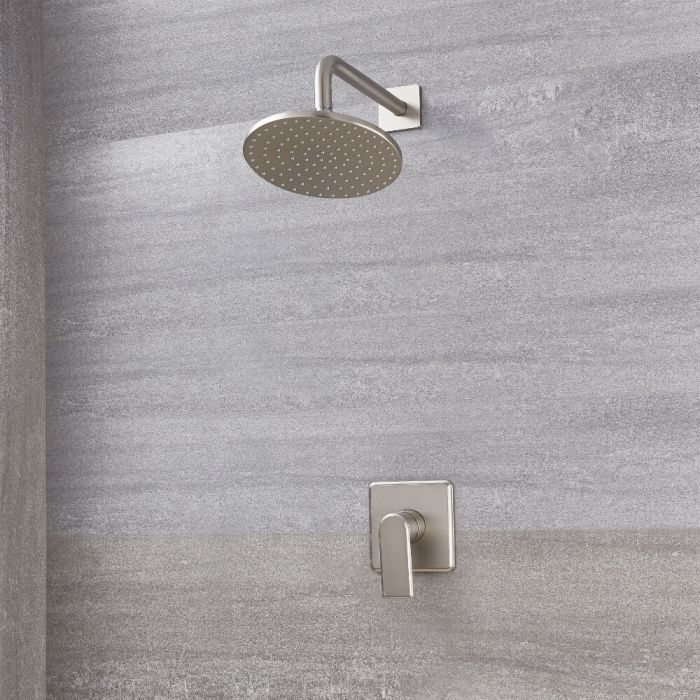 Milano Ashurst - Brushed Nickel Shower with Wall Mounted Round Shower Head (1 Outlet)