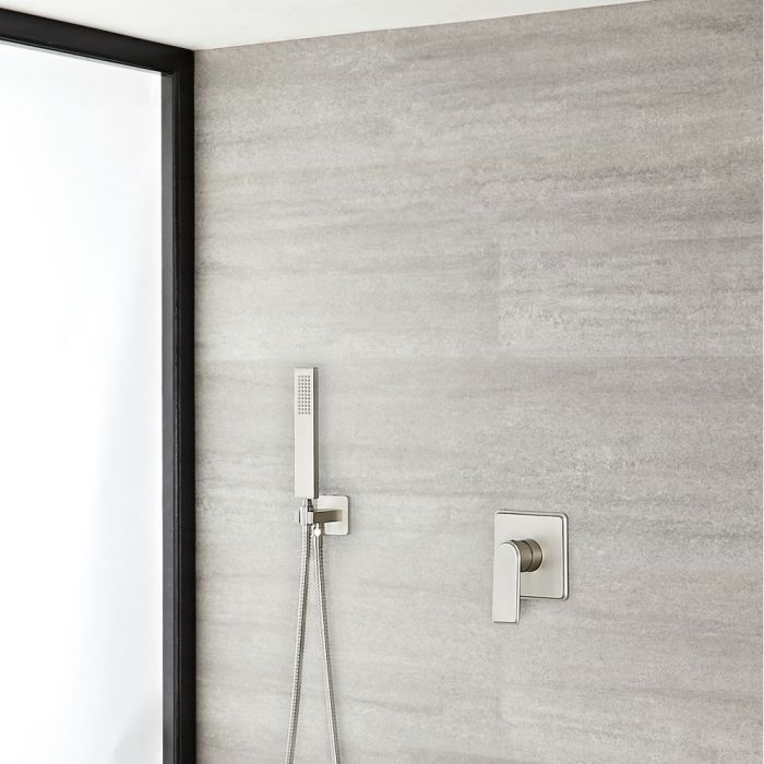 Milano Hunston - Brushed Nickel Shower with Square Hand Shower Kit (1 Outlet)
