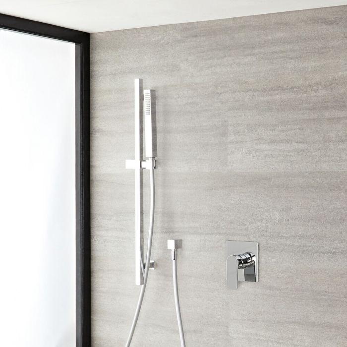 Milano Hunston - Chrome Shower with Rectangular Hand Shower and Riser Rail (1 Outlet)