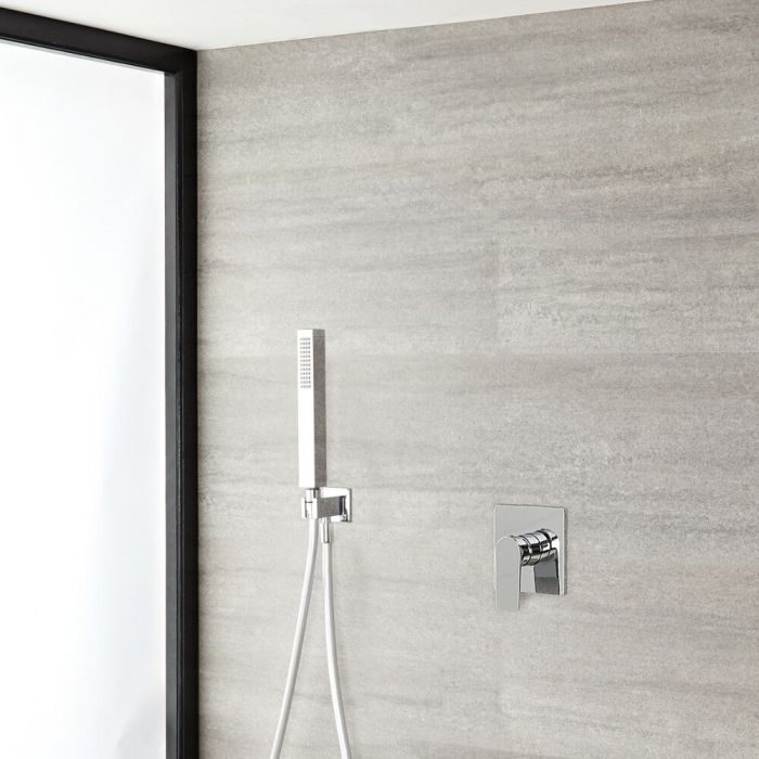 Milano Hunston - Chrome Shower with Square Hand Shower Kit (1 Outlet)