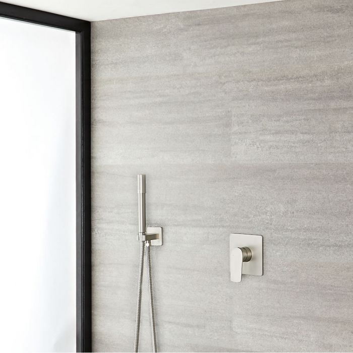 Milano Ashurst - Brushed Nickel Shower with Pencil Hand Shower Kit (1 Outlet)