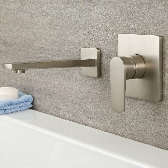 Milano Hunston - Modern Wall Mounted Basin or Bath Mixer Tap - Brushed Nickel