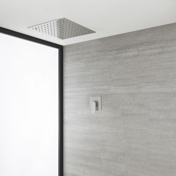Milano Hunston - Brushed Nickel Shower with Recessed Shower Head (1 Outlet)