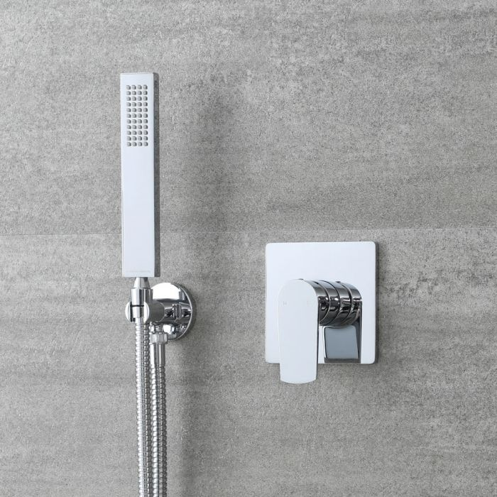 Milano Arcadia - Modern Chrome Shower with Square Hand Shower Kit (1 Outlet)