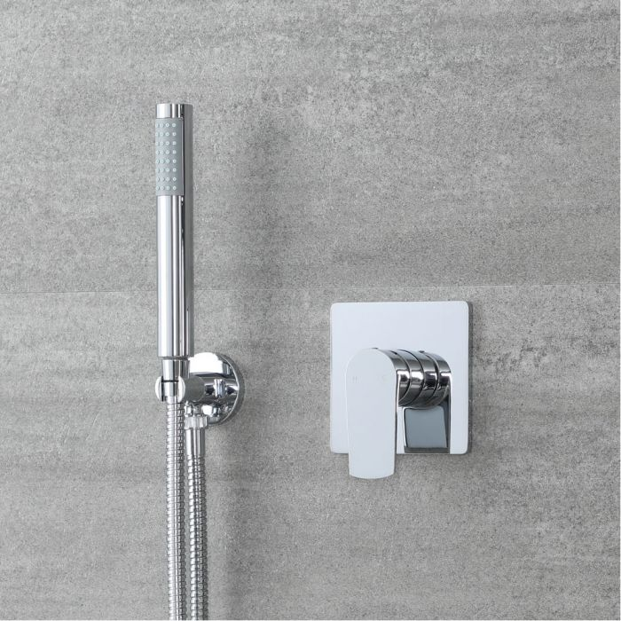 Milano Arcadia - Modern Chrome Shower with Round Hand Shower Kit (1 Outlet)