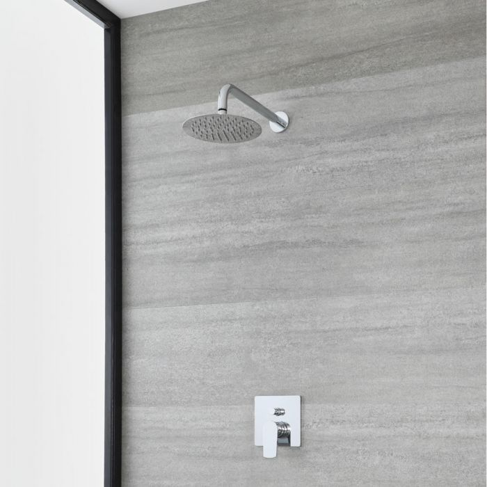 Milano Arcadia - Modern Chrome Shower with Round Shower Head (1 Outlet)