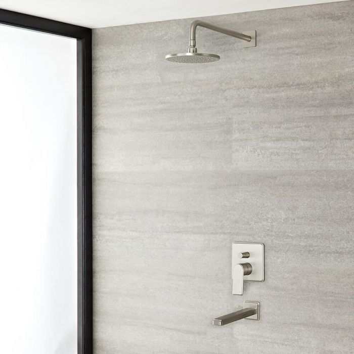 Milano Ashurst - Brushed Nickel Shower with Diverter, Shower Head and Bath Spout (2 Outlet)