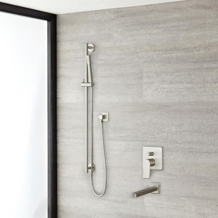 Milano Ashurst - Manual Diverter Shower Valve, Riser Rail Kit and Spout - Brushed Nickel
