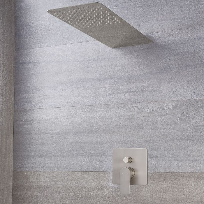 Milano Ashurst - Brushed Nickel Shower with Diverter and Waterblade Shower Head (2 Outlet)