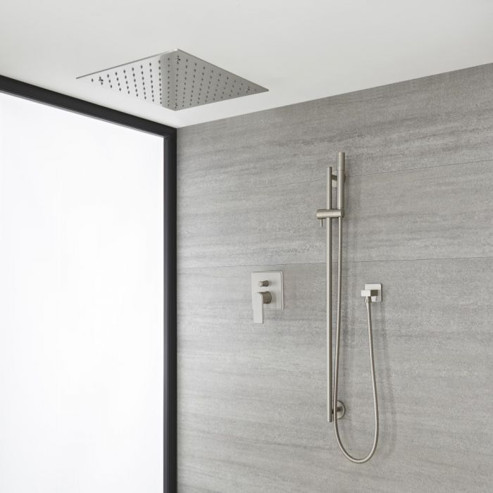 Milano Ashurst - Brushed Nickel Shower with Recessed Shower Head, Hand Shower and Riser Rail (2 Outlet)