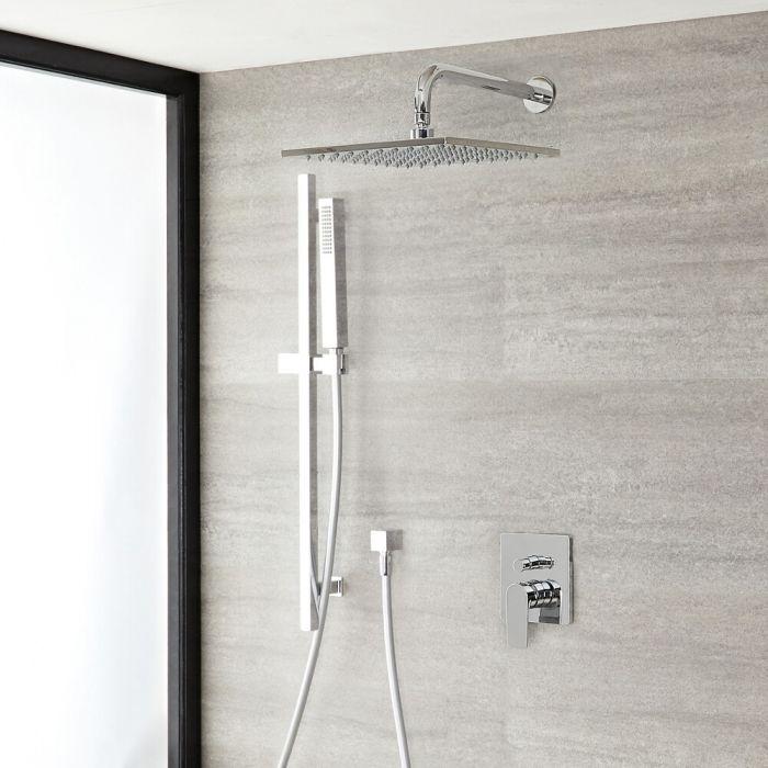 Milano Ashurst - Manual Diverter Shower Valve with 300mm Square Head and Riser Rail Kit - Chrome