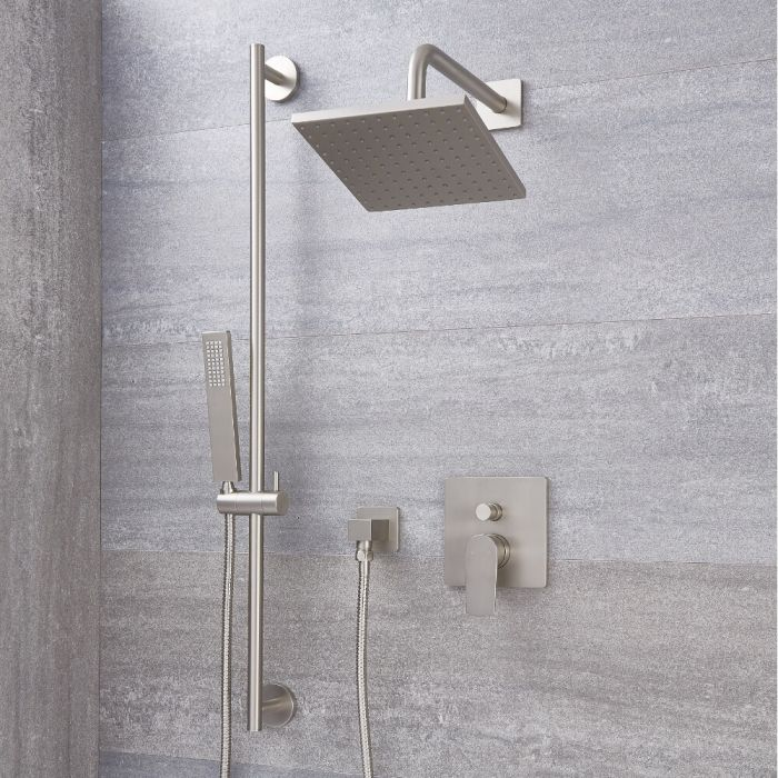 Milano Hunston - Brushed Nickel Shower with Diverter, Shower Head, Hand Shower and Riser Rail (2 Outlet)