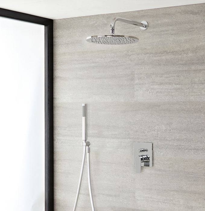Milano Ashurst - Manual Diverter Shower Valve with 300mm Round Head and Hand Shower - Chrome