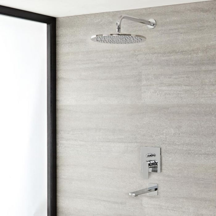 Milano Hunston - Chrome Shower with Diverter, Round Shower Head and Bath Spout (2 Outlet)