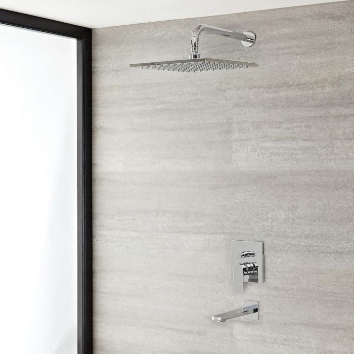 Milano Hunston - Chrome Shower with Diverter, Square Shower Head and Bath Spout (2 Outlet)