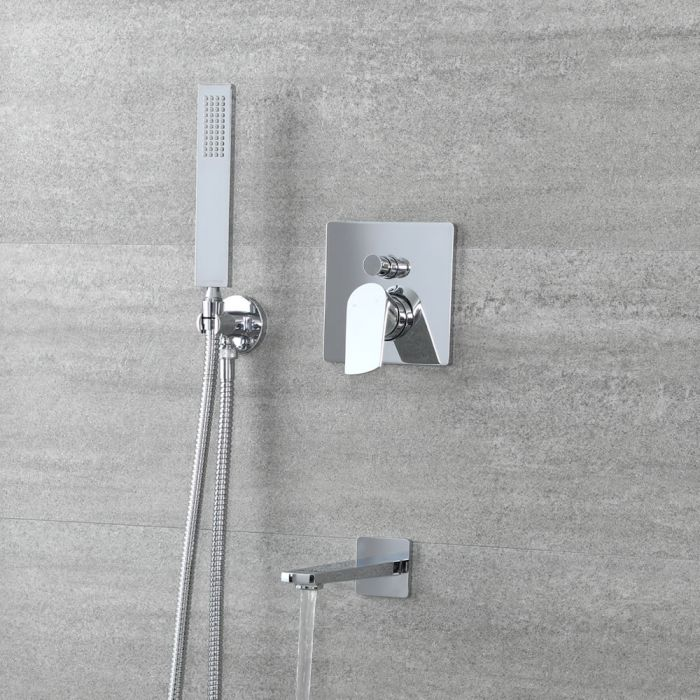 Milano Arcadia - Chrome Shower with Diverter, Square Hand Shower and Bath Spout (2 Outlet)