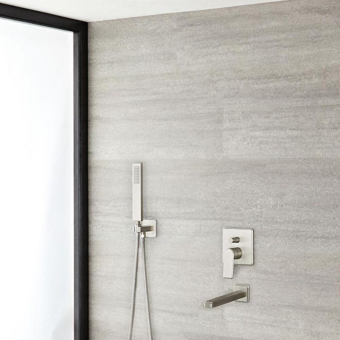 Milano Hunston - Manual Diverter Shower Valve, Square Hand Shower and Spout - Brushed Nickel