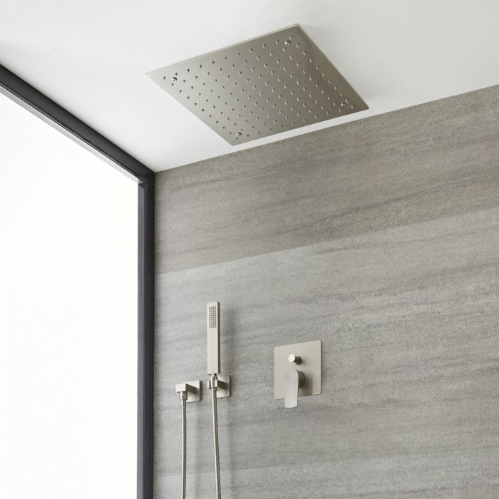 Milano Hunston - Brushed Nickel Shower with Recessed Shower Head and Hand Shower Kit (2 Outlet)
