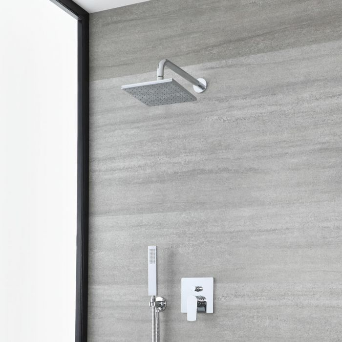 Milano Arcadia - Chrome Shower with Diverter, Square Shower Head and Hand Shower (2 Outlet)