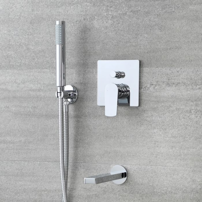 Milano Arcadia - Chrome Shower with Diverter, Hand Shower and Bath Spout (2 Outlet)