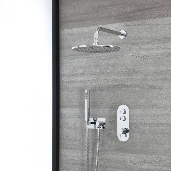 Milano Orta - Chrome Thermostatic Shower with Shower Head and Hand Shower with Holder (2 Outlet)