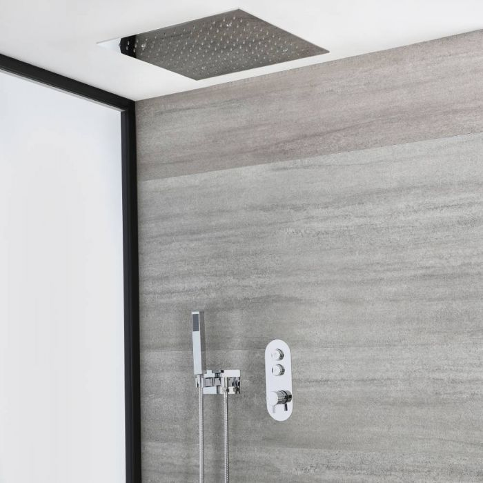 Milano Orta - Chrome Thermostatic Shower with Recessed Shower Head and Hand Shower with Holder (2 Outlet)