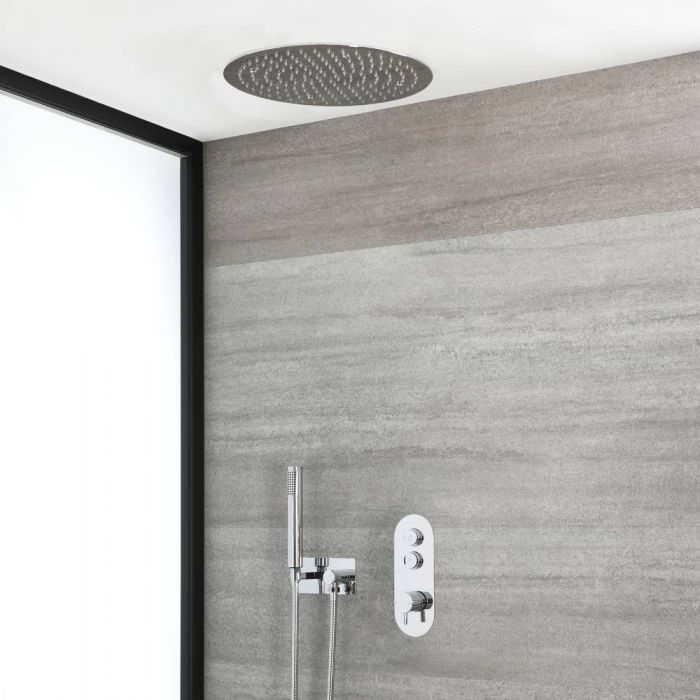 Milano Orta - Chrome Thermostatic Shower with Round Recessed Shower Head and Hand Shower with Holder (2 Outlet)
