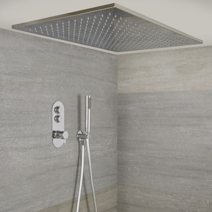 Milano Orta - Chrome Thermostatic Shower with Large Shower Head and Hand Shower (2 Outlet)