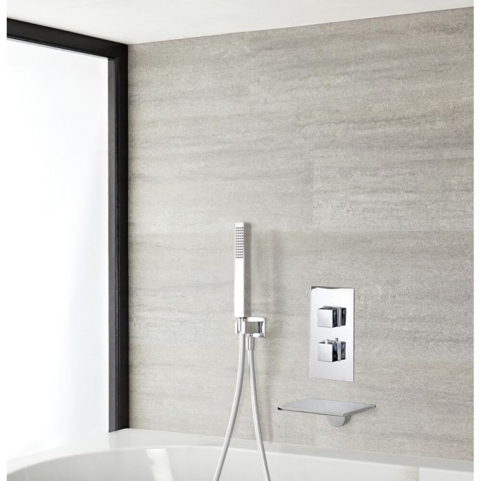 Milano Blade - Chrome Thermostatic Shower with Hand Shower and Bath Filler (2 Outlet)