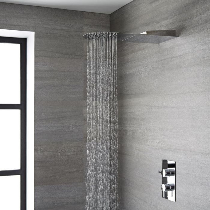 Milano Mirage - Modern 500mm Round Concealed Shower Head with Waterblade - Chrome