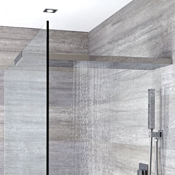 Milano Vaso - Modern Wall Mounted 900mm Glass-Grabbing Shower Head - Chrome