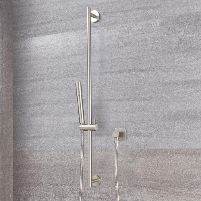 Milano Ashurst - Round Shower Riser Rail Kit - Brushed Nickel