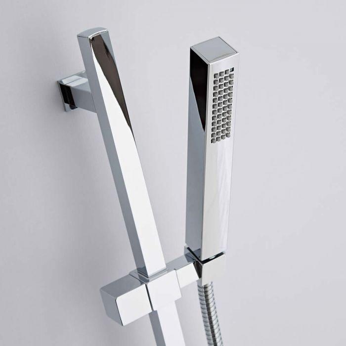 Milano Arvo - Modern Square Riser Rail Hand Shower Kit with Hose - Chrome