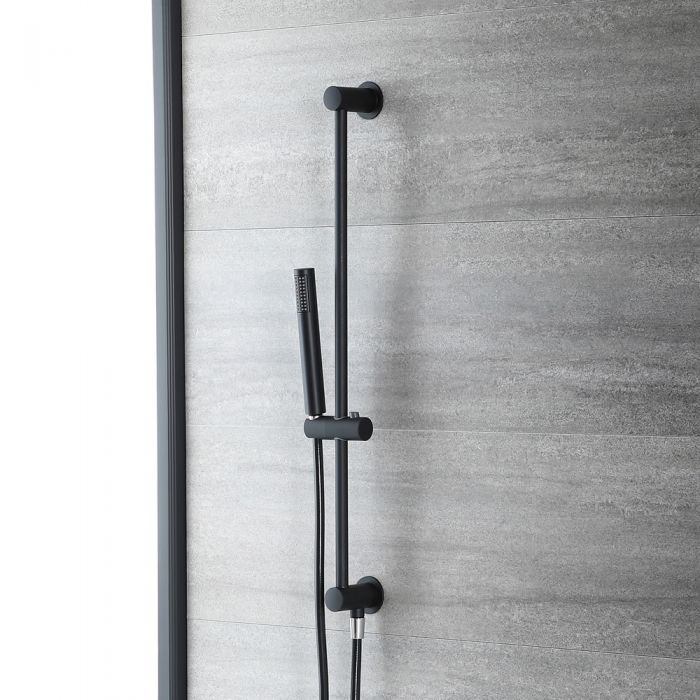 Milano Nero - Modern Riser Rail Kit with Hand Shower and Outlet Elbow - Black