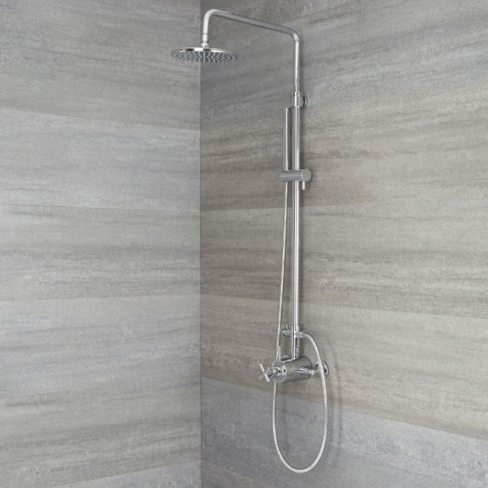 Milano Tec - Modern Thermostatic Shower with Dual Valve, Hand Shower and Shower Head - Chrome