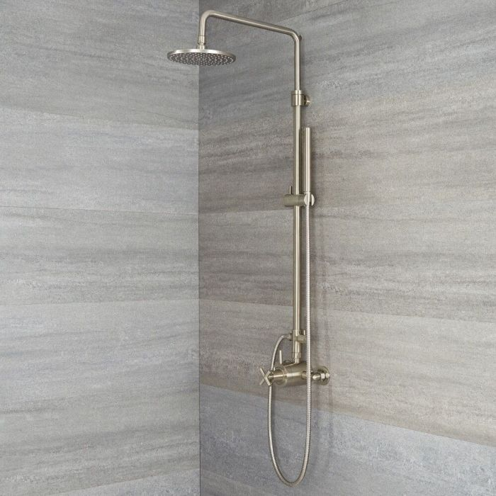 Milano Tec - Modern Thermostatic Shower with Dual Valve, Hand Shower and Shower Head - Brushed Nickel