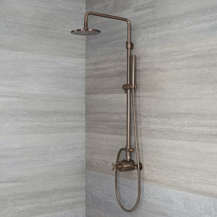 Milano Tec - Modern Thermostatic Shower with Dual Valve, Hand Shower and Shower Head - Oil Rubbed Bronze