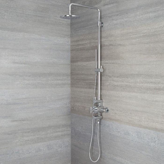 Milano Tec - Modern Thermostatic Shower with Triple Valve, Hand Shower and Shower Head - Chrome