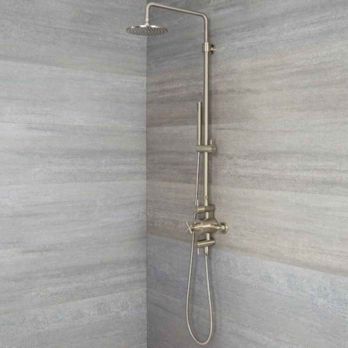 Milano Tec - Modern Thermostatic Shower with Triple Valve, Hand Shower and Shower Head - Brushed Nickel
