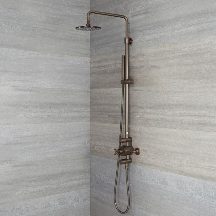 Milano Tec - Modern Thermostatic Shower with Triple Valve, Hand Shower and Shower Head - Oil Rubbed Bronze