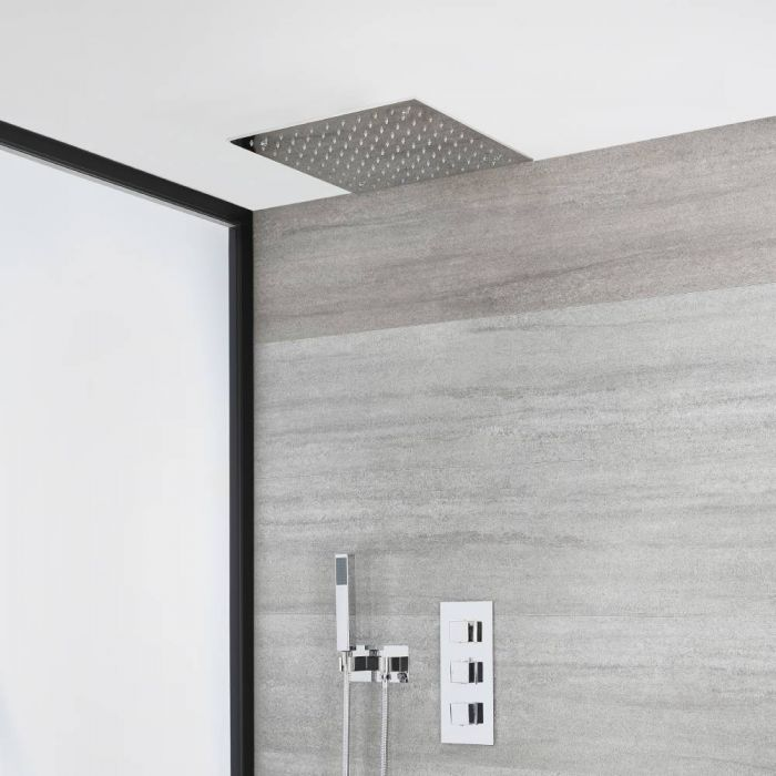 Milano Arvo - Chrome Thermostatic Shower with Recessed Shower Head and Hand Shower with Holder (2 Outlet)
