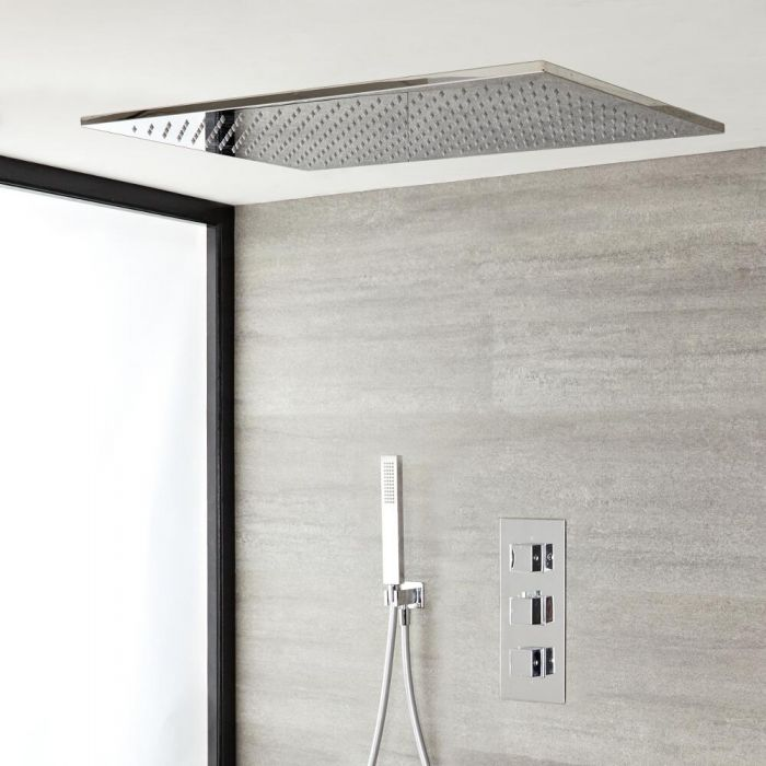 Milano Arvo - Chrome Thermostatic Shower with Large Recessed Shower Head and Hand Shower (2 Outlet)