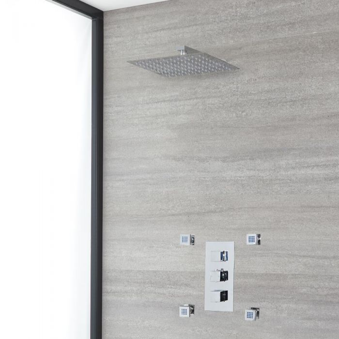 Milano Arvo - Chrome Thermostatic Shower with Shower Head and Body Jets (2 Outlet)