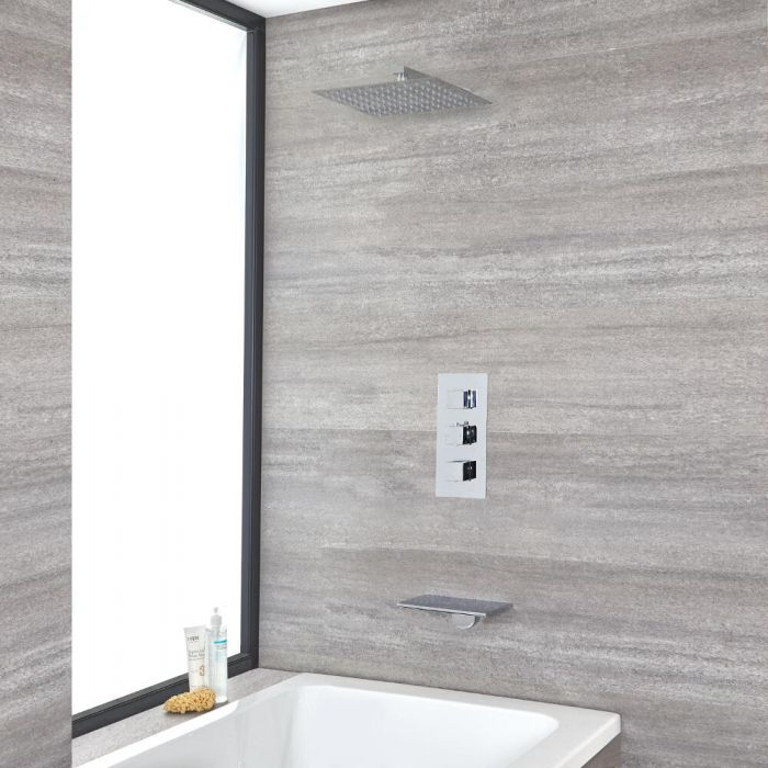 Milano Arvo - Chrome Thermostatic Shower with Shower Head and Waterfall Bath Filler (2 Outlet)