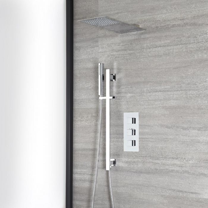 Milano Arvo - Chrome Thermostatic Shower with Slim Shower Head, Hand Shower and Riser Rail (2 Outlet)
