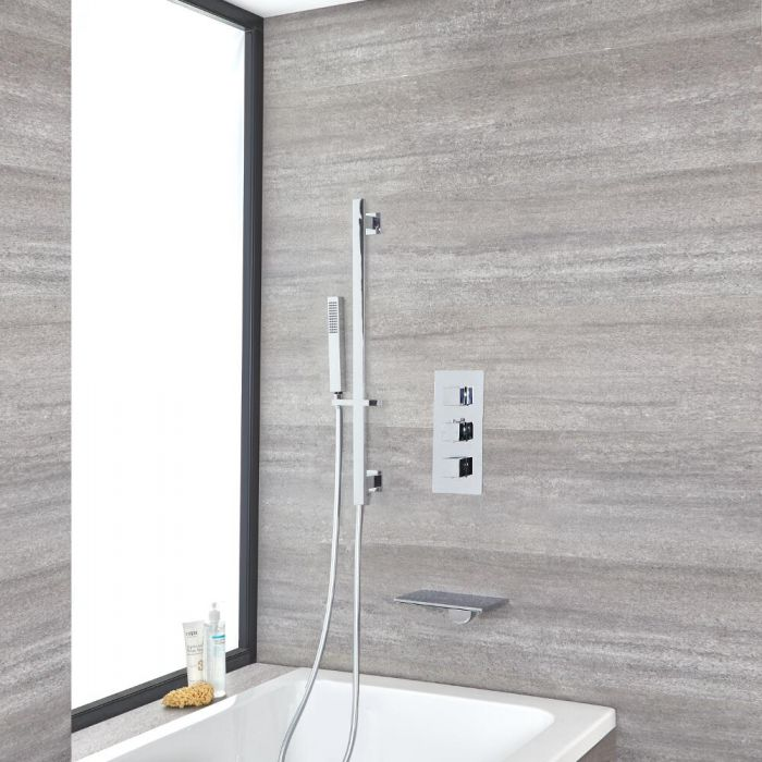 Milano Arvo - Chrome Thermostatic Shower with Hand Shower, Waterfall Bath Filler and Riser Rail (2 Outlet)