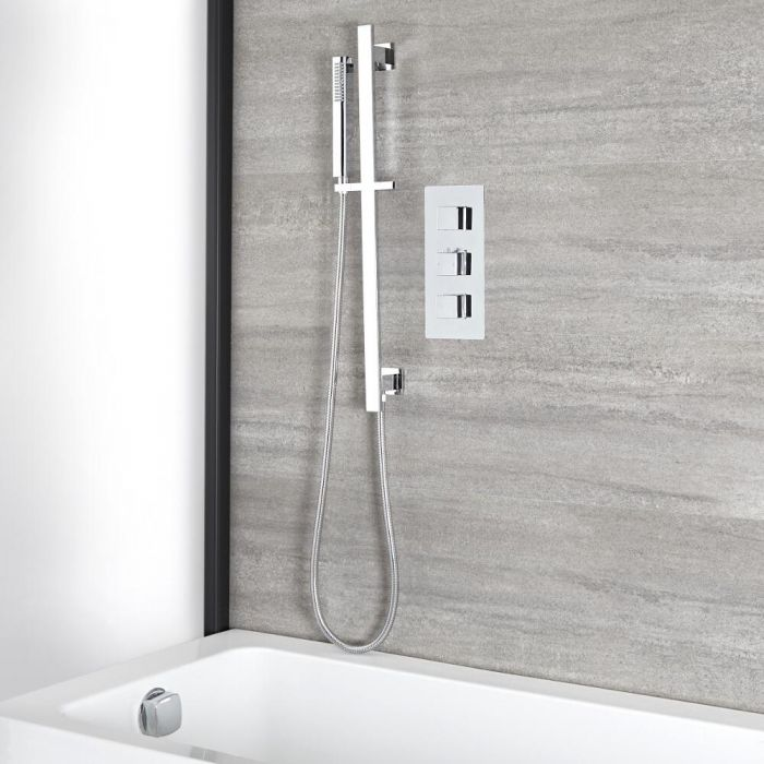 Milano Arvo - Chrome Thermostatic Shower with Hand Shower, Overflow Bath Filler and Riser Rail (2 Outlet)