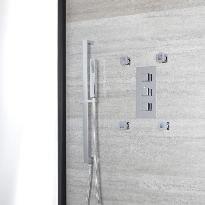 Milano Arvo - Chrome Thermostatic Shower with Hand Shower, Body Jets and Riser Rail (2 Outlet)