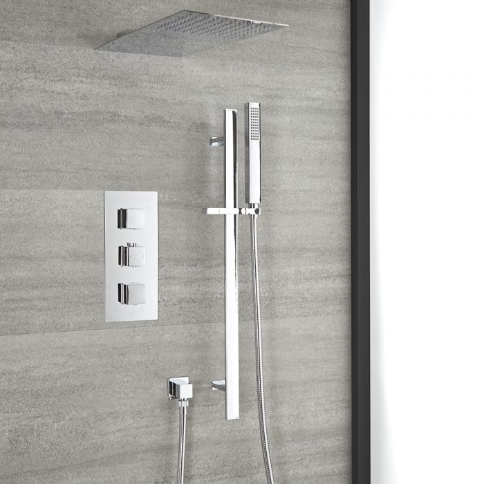 Milano Arvo - Chrome Thermostatic Shower with Shower Head, Hand Shower and Riser Rail (2 Outlet)